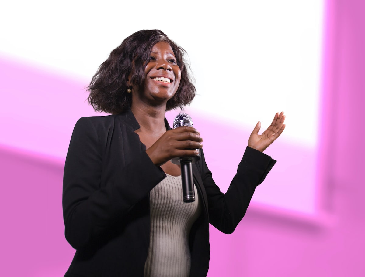 An SVU speaker with a microphone in her hand