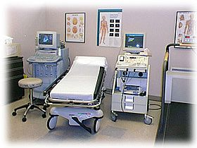 This lab in the Stanford Vascular laboratory includes both duplex ultrasound imager and an indirect Doppler ultrasound machine with a treadmill for physiological assessment.