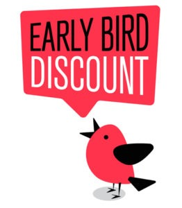Bird with speech bubble saying Early Bird Discount