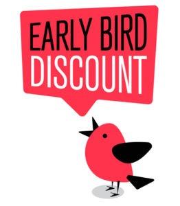 Bird with speech bubble saying Early Bird Discount
